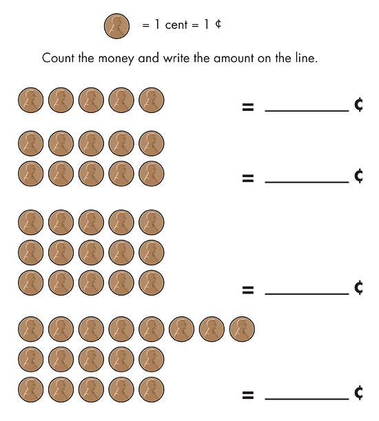 Printable Math and Measurements Worksheets – Counting Pennies Worksheet