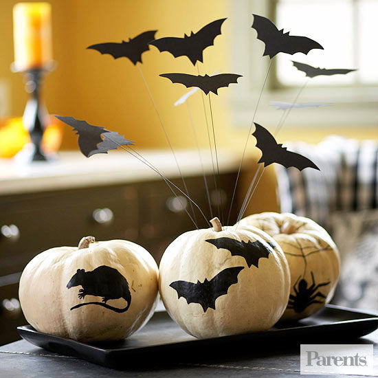 Decorate for halloween with no carve pumpkins White pumpkin carving ideas
