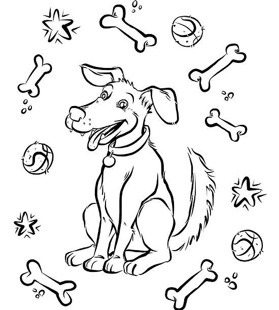 Dog Under Table Coloring Page