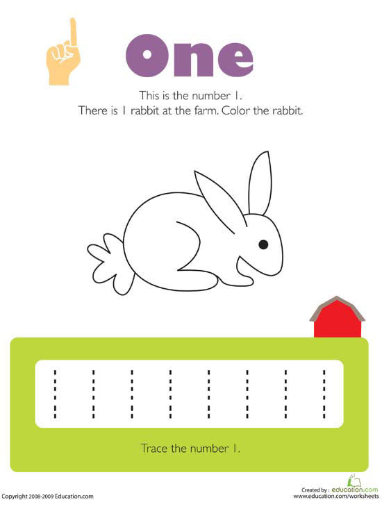 Free Worksheets preschool number tracing : Printable Numbers Worksheets
