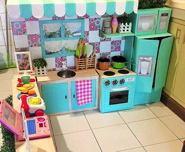 Image result for kitchen from cardboard boxes