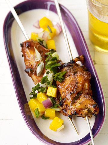 Chicken Satay Skewers with Mango Relish | Parents