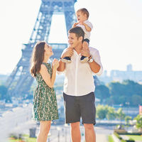 family in front of eiffel tower paris france