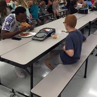 travis rudolph at lunch table