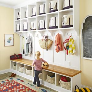 Organization Tips Foyer Bins In Shelves