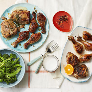 12 Chicken Recipes Banner Drumsticks Platter with Broccoli