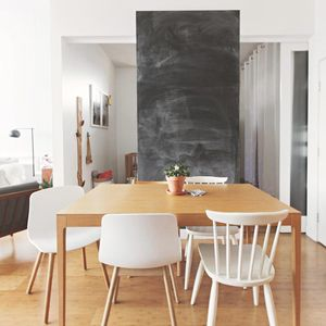 Small Space Living Condo Dining Area Black Chalkboard Wall