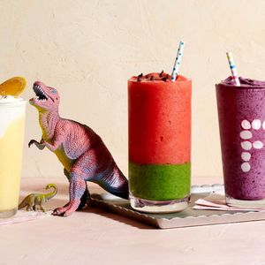 Various Frozen Drinks and Dinosaur Toy