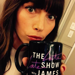 jessica biel with coffee mug