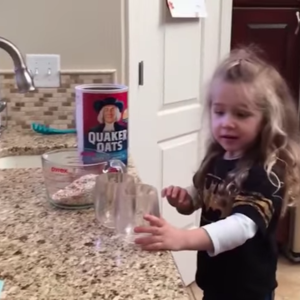 ellie trying to make oatmeal