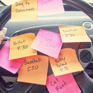 post-it notes on steering wheel