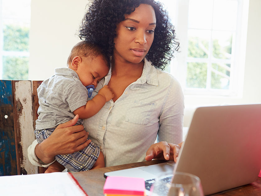 working mom with baby boy