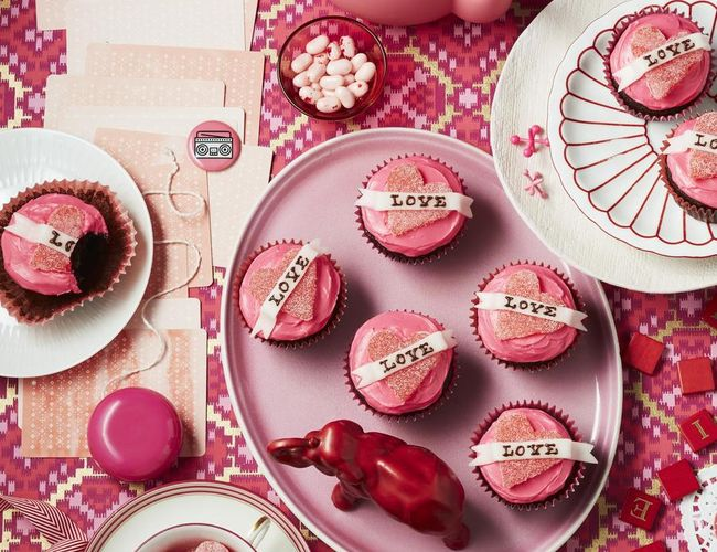 Vintage Valentine's Day Treat Love Tattoo Cupcakes