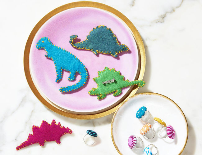 Jewelry Kids Can Make Banner Felt Dino Brooches and Fabric Covered Button Rings