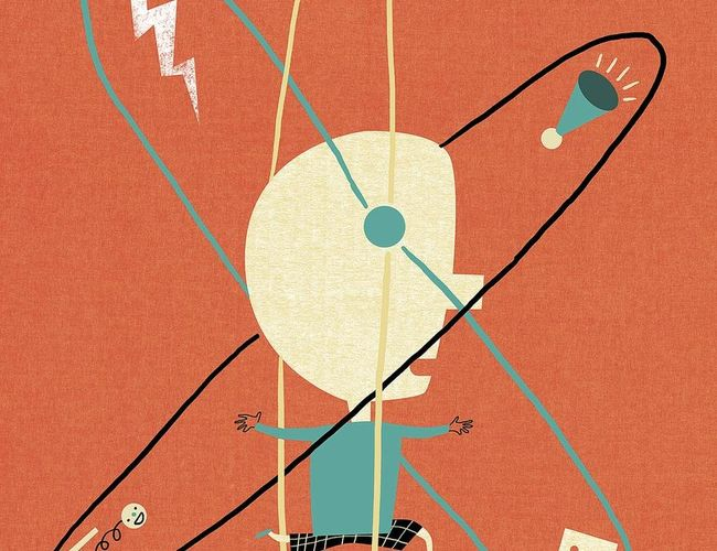 Game Changer ADHD Child in Middle of Atomic Whirl Illustration