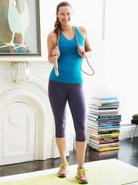 woman holding jump rope