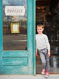 Boy in Montreal Doorway