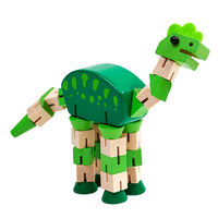 Wooden jointed green dinosaur