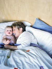 Mom and baby in bed