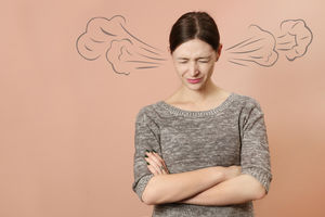 woman with steam coming out of ears
