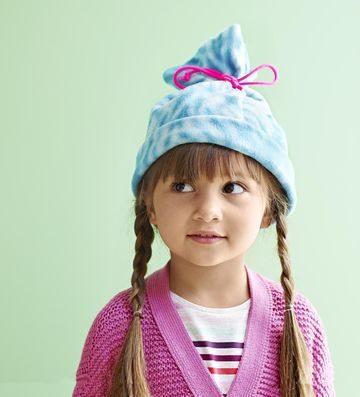 Girl Wearing Homemade fleece hat