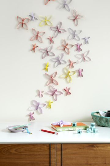 Tube Crafts Colorful Butterfly Bunch on Wall