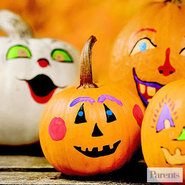 Decorate for halloween with no carve pumpkins - Idee deco citrouille halloween ...