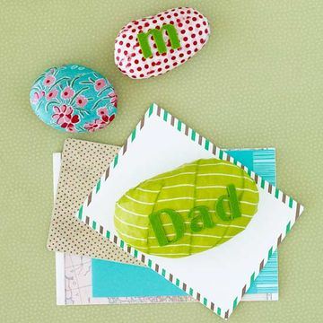 Fabric strip and letter sticker rock paperweight