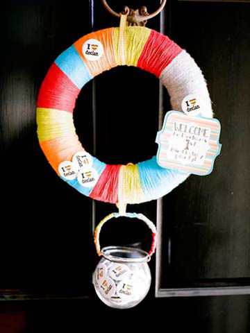 Decorative Foam Wreath Holding Jar of Party-Favor Pins