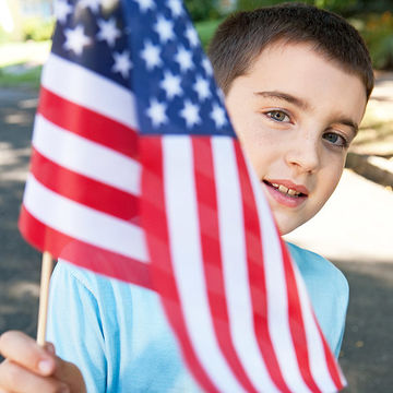 Child Holding American Flag