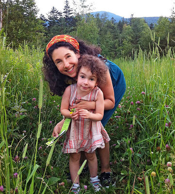woman on hike with daughter