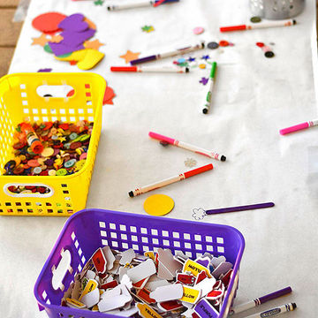 Crafts spread on table