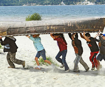 Kids carrying boat