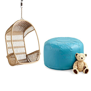 Swing chair and pouf