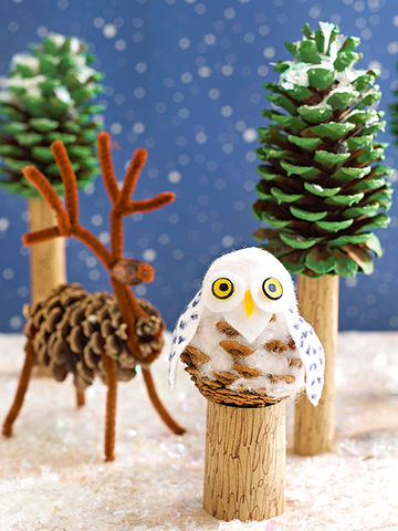 Fun winter kids 39 crafts for Pine cone art projects