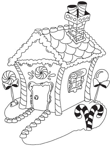 gingerbread house - Christmas Coloring Sheets Print