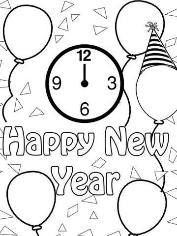happy new year - Winter Coloring Pages