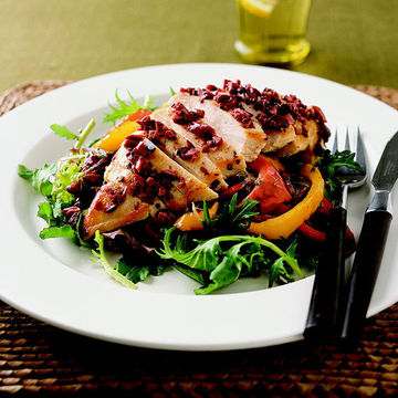 Chicken Breasts with Roasted Peppers and Greens