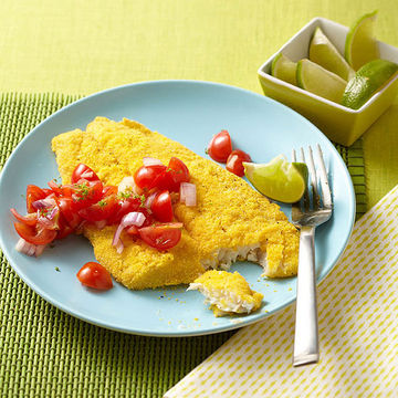 Crispy flounder with tomato salsa Peter Ardito