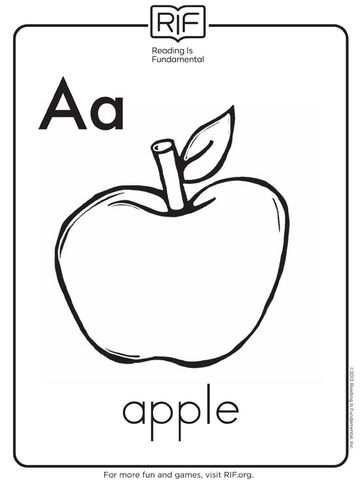 a is for apple - Alphabet Coloring Pages For Kids