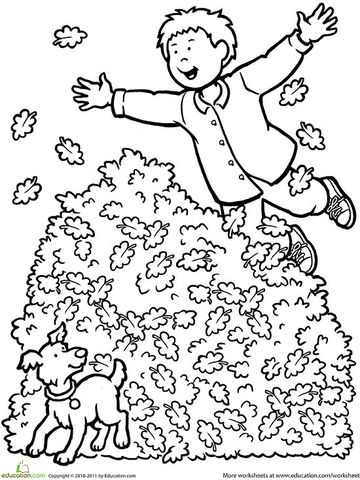 jumping into leaves printable coloring page