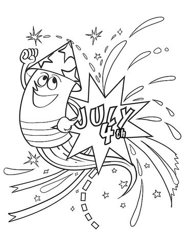 July 4th Fireworks Printable Coloring Page