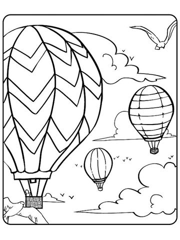 Hot Air Balloon Party Printable Coloring Page