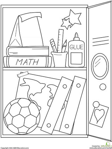 school locker printable coloring page