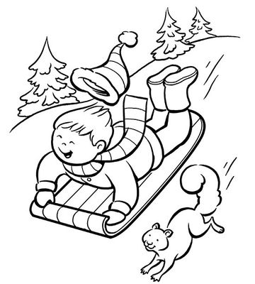 sledding down the slope - Winter Coloring Pages