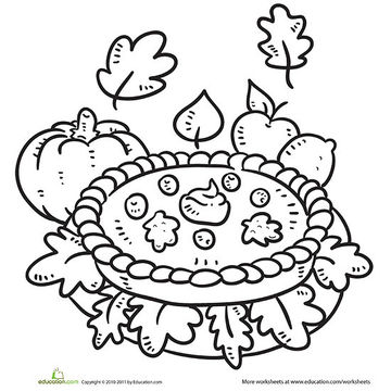 pumpkin pie printable coloring page - Coloring Pages Fall Printable