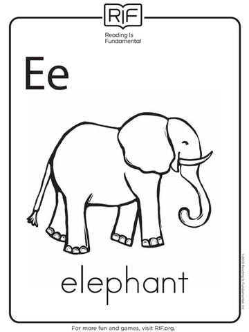 e is for elephant - Letter Printable Coloring Pages