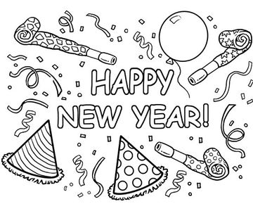 new years celebration - Winter Coloring Pages
