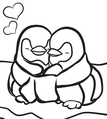 penguins in love - Winter Coloring Pages