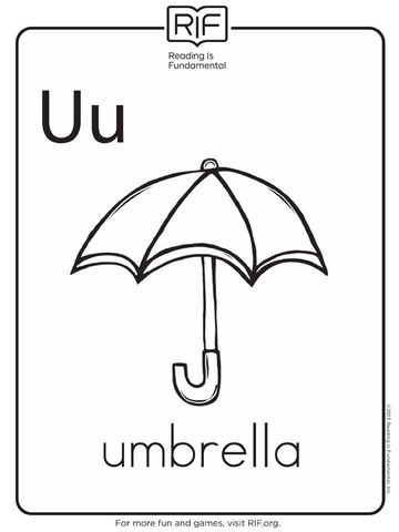 Free alphabet coloring pages for Printable umbrella template for preschool